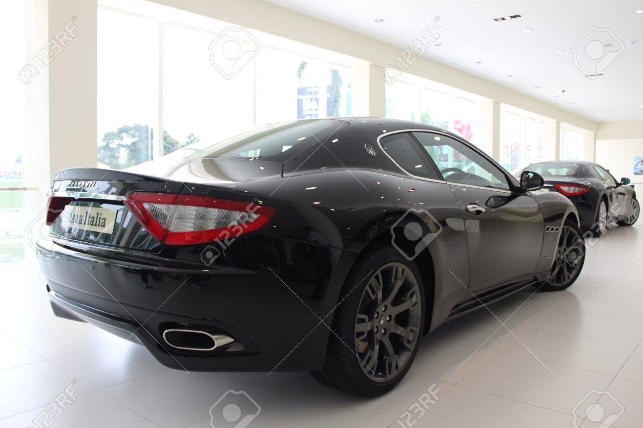 Back View Of Maserati Gran Turismo At Naza Italia Stock Photo ...