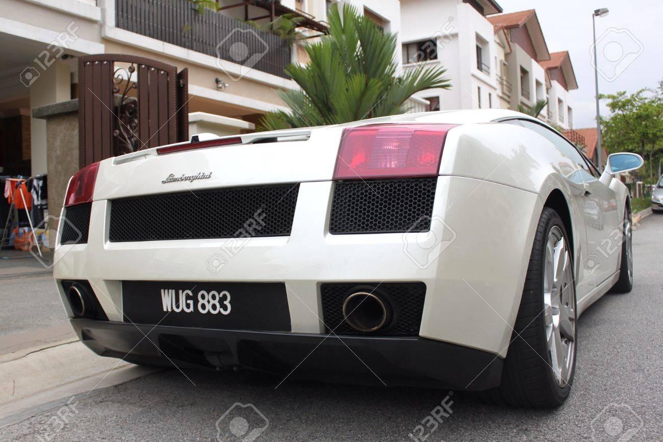 Back View Of Lamborghini Gallardo Sport Car Stock Photo Picture And