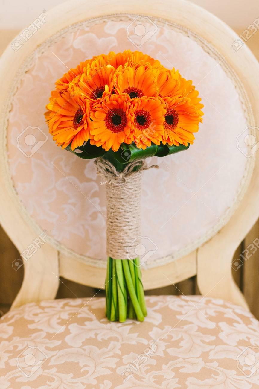 Schone Hochzeit Bouquet Von Orange Blumen Niemand Vertikale