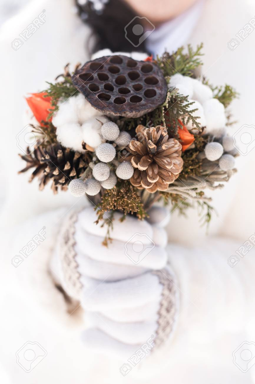 Beautiful Bridal Wedding Bouquet In Hands Of Bride Made From.. Stock ...