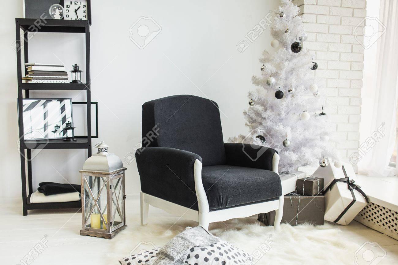 Modern Stylish Christmas Decor Of White Living Room With Brick ...