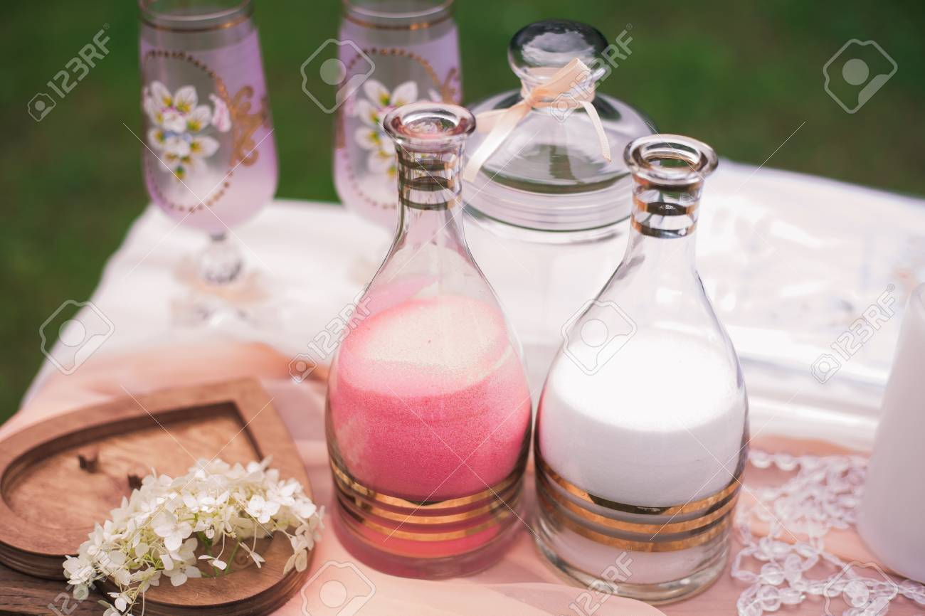 Sand Ceremony Wedding.Closeup View Of Elements Of Wedding Sand Ceremony Two Bottles