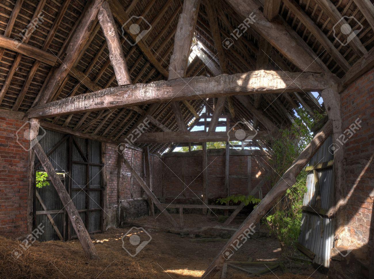 Timber-frame And Brick Constructed English Barn Interior. Stock ...