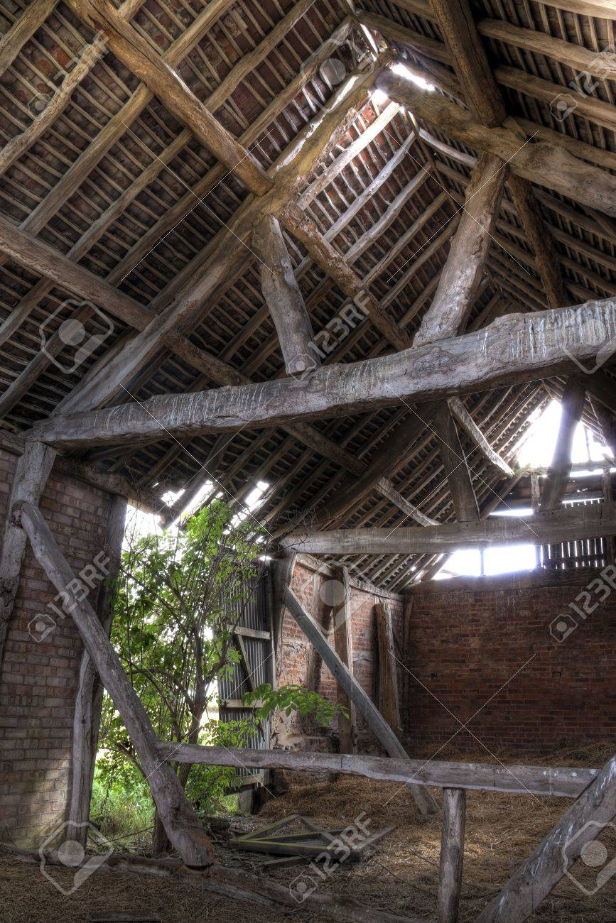 Timber Frame And Brick Constructed English Barn Interior Stock Photo Picture And Royalty Free Image Image 24761447