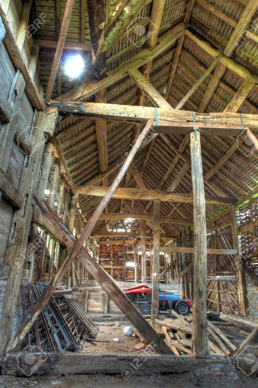 Großer Fachwerk-und Backstein Scheune, Worcestershire, England ...