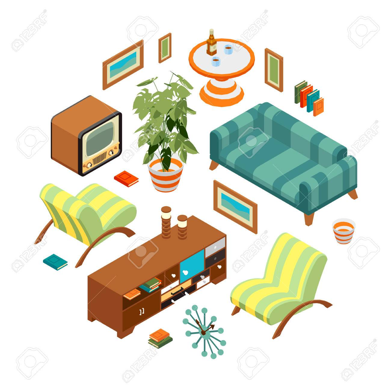 Isometric Objects From A Retro Living Room. The Objects Are Isolated  Against The White Background Part 66