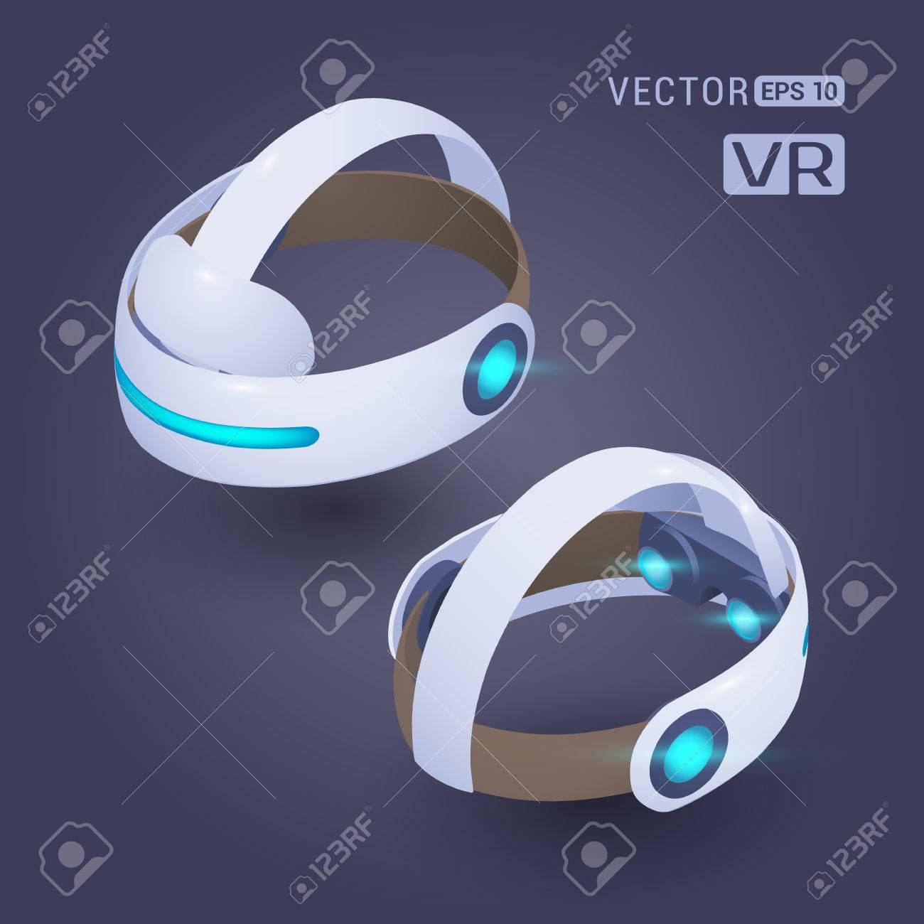 Isométrico realidad virtual receptor de cabeza contra el fondo oscuro violeta. Los objetos se muestran a partir de dos lados