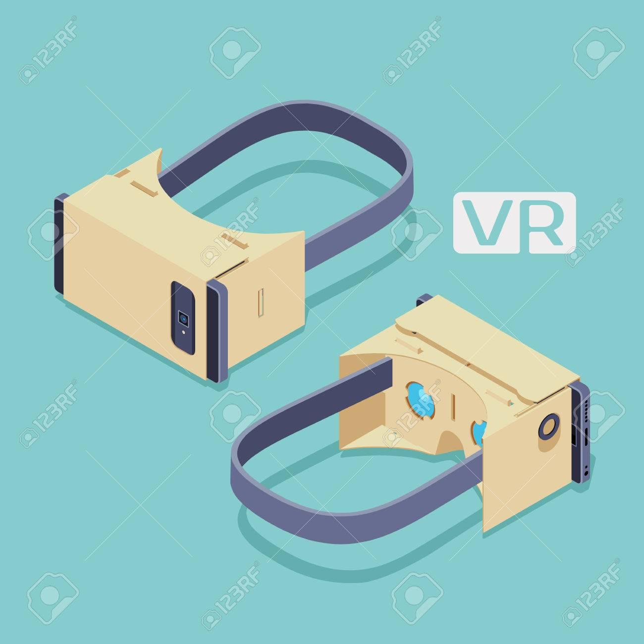 Conjunto de los de cartón isométrica auriculares de realidad virtual. Los objetos están aislados sobre el fondo verde azulado y se muestran por dos