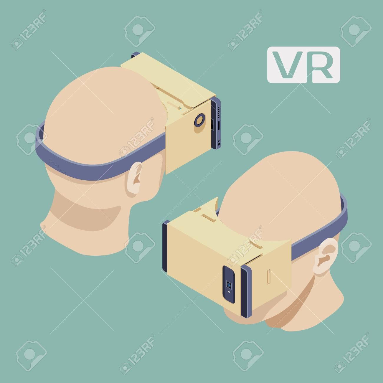 Cartón isométrica auriculares de realidad virtual. Los objetos están aislados sobre el fondo verde pálido y se muestran por dos lados