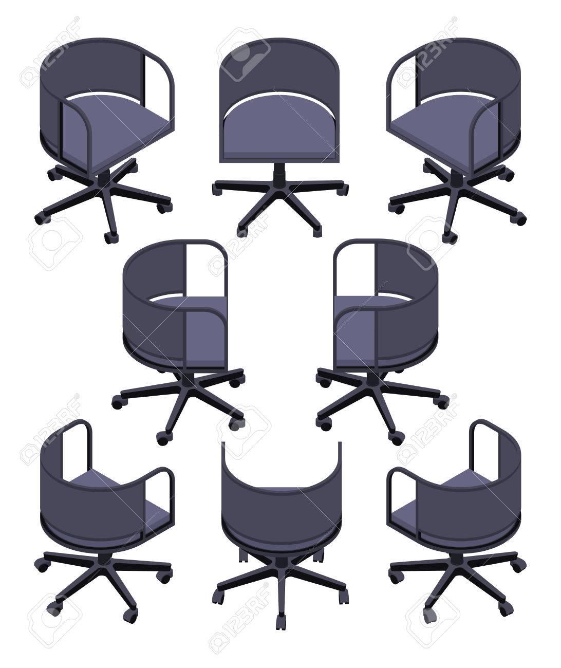 Conjunto de las sillas giratorias de oficina isométricos. Los objetos están  aislados contra el fondo blanco y se muestran desde diferentes lados