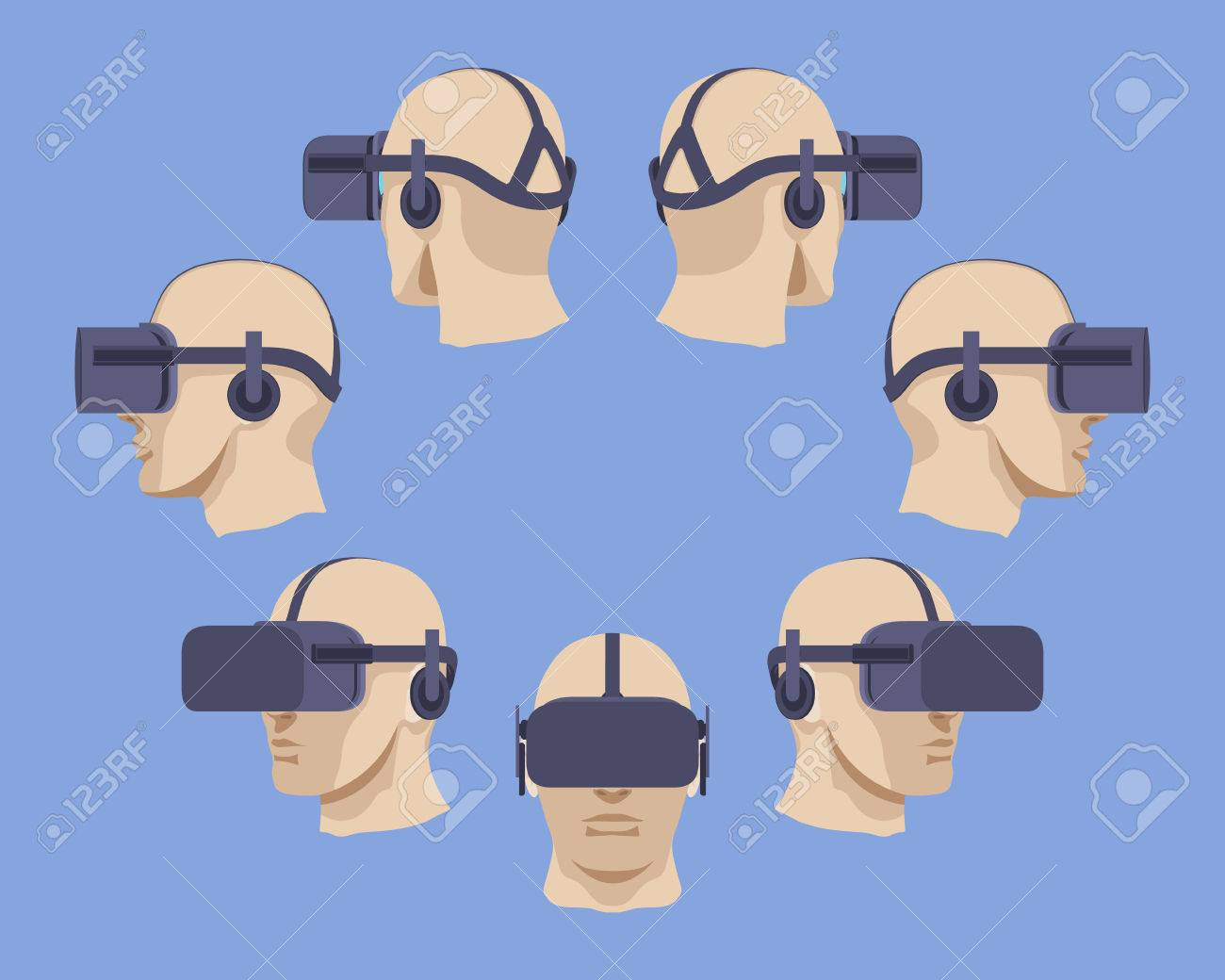 Set of the virtual reality headsets. The objects are isolated against the light-violet background and shown from different sides - 41598450