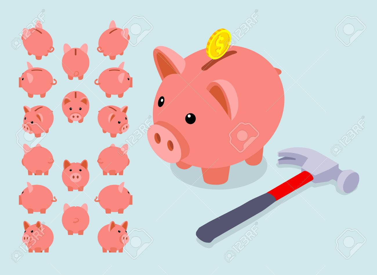 Isometric piggy bank. Set of the piggy moneyboxes. The objects are isolated against the light-blue background and shown from different sides - 45788306