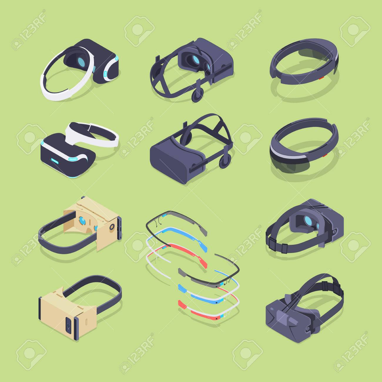 Isometric virtual and augmented reality headsets. The objects are located on the green background and shown from two sides - 46403783