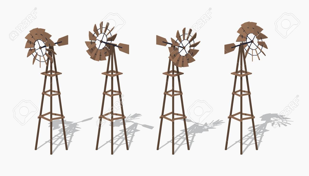 Old wind turbine  3D low poly isometric illustration  The set