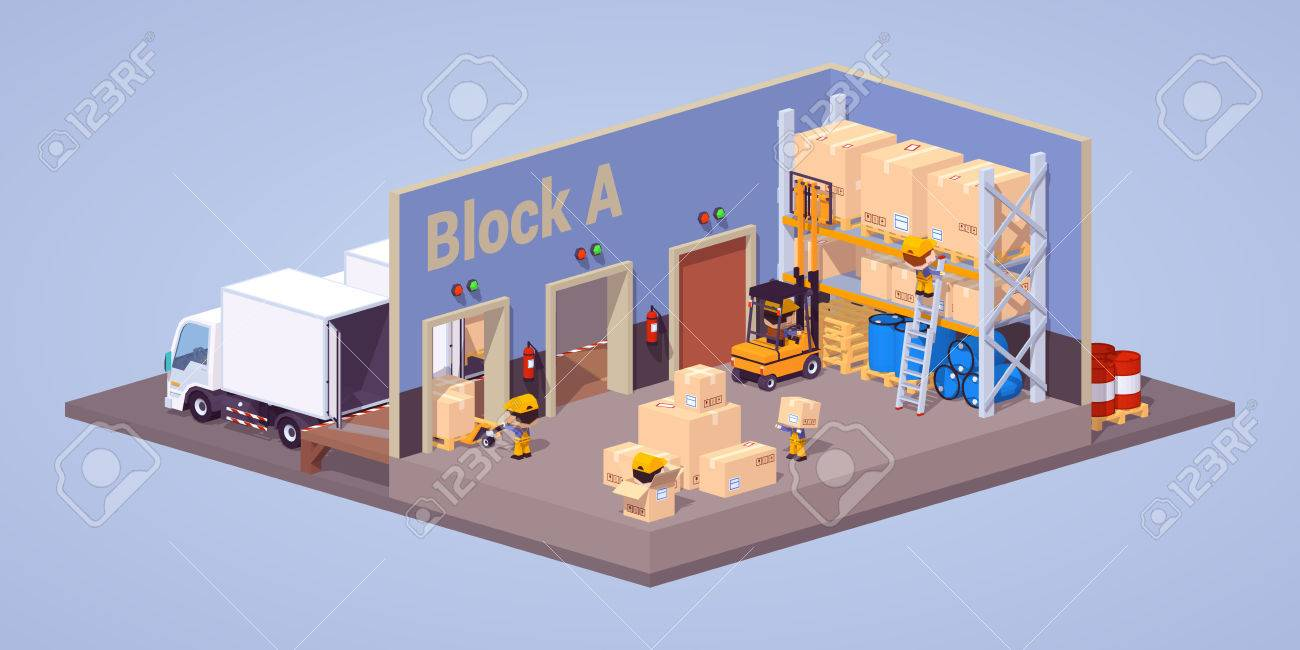 modern warehouse interior 3d low poly isometric concept