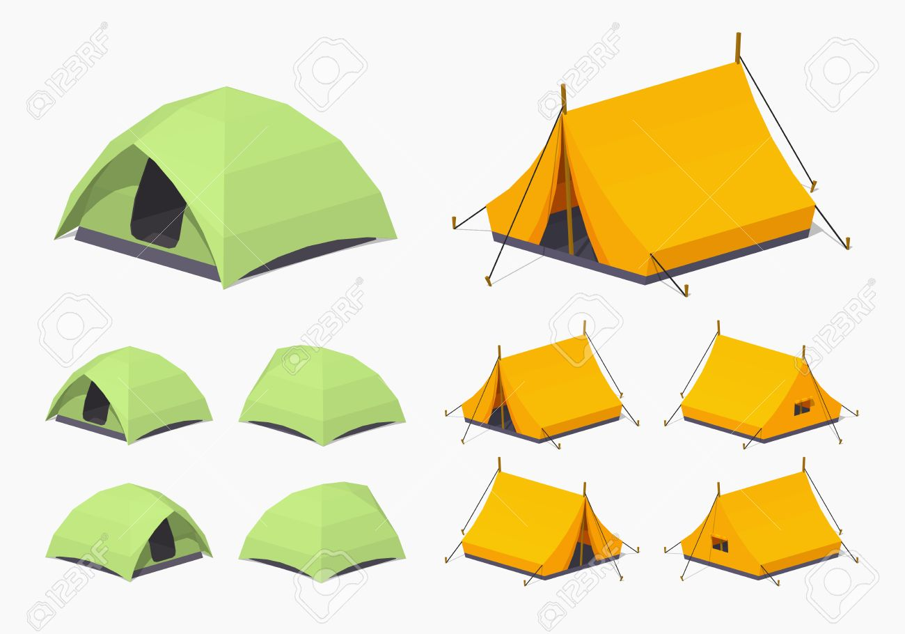 Camping tents. 3D low poly isometric illustration. The set of objects isolated against the white background and shown from different sides - 51511053