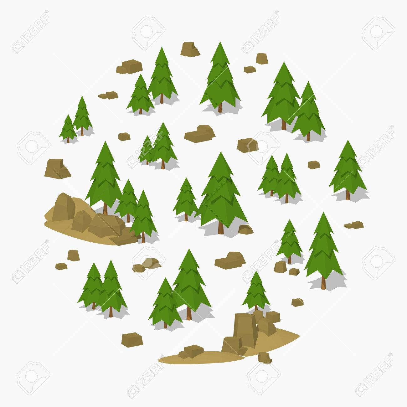 Pine-tree forest. 3D lowpoly isometric vector concept illustration suitable for advertising and promotion - 52490755