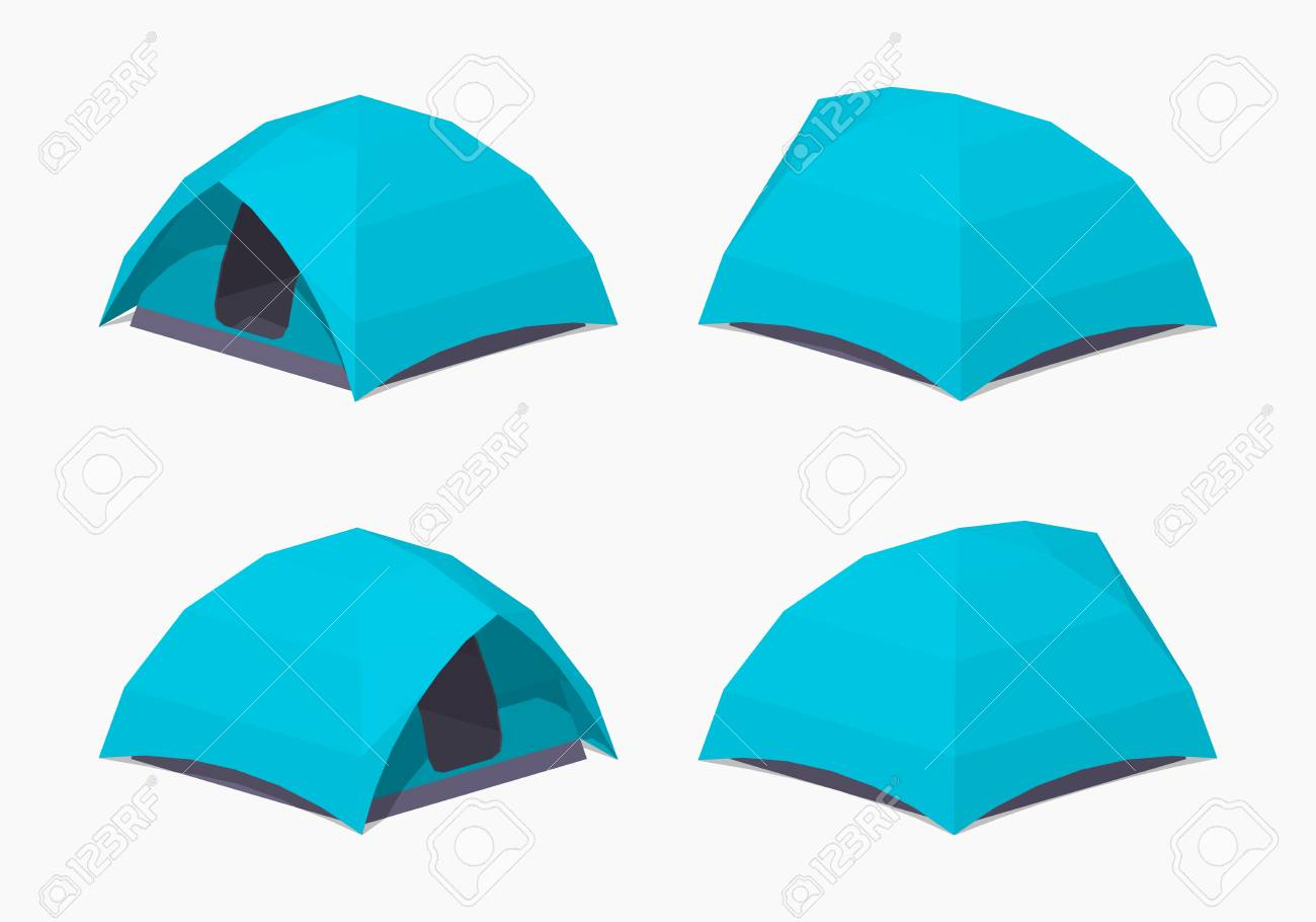 Camping Tents 3D Lowpoly Isometric Vector Illustration The Set Of Objects Isolated Against