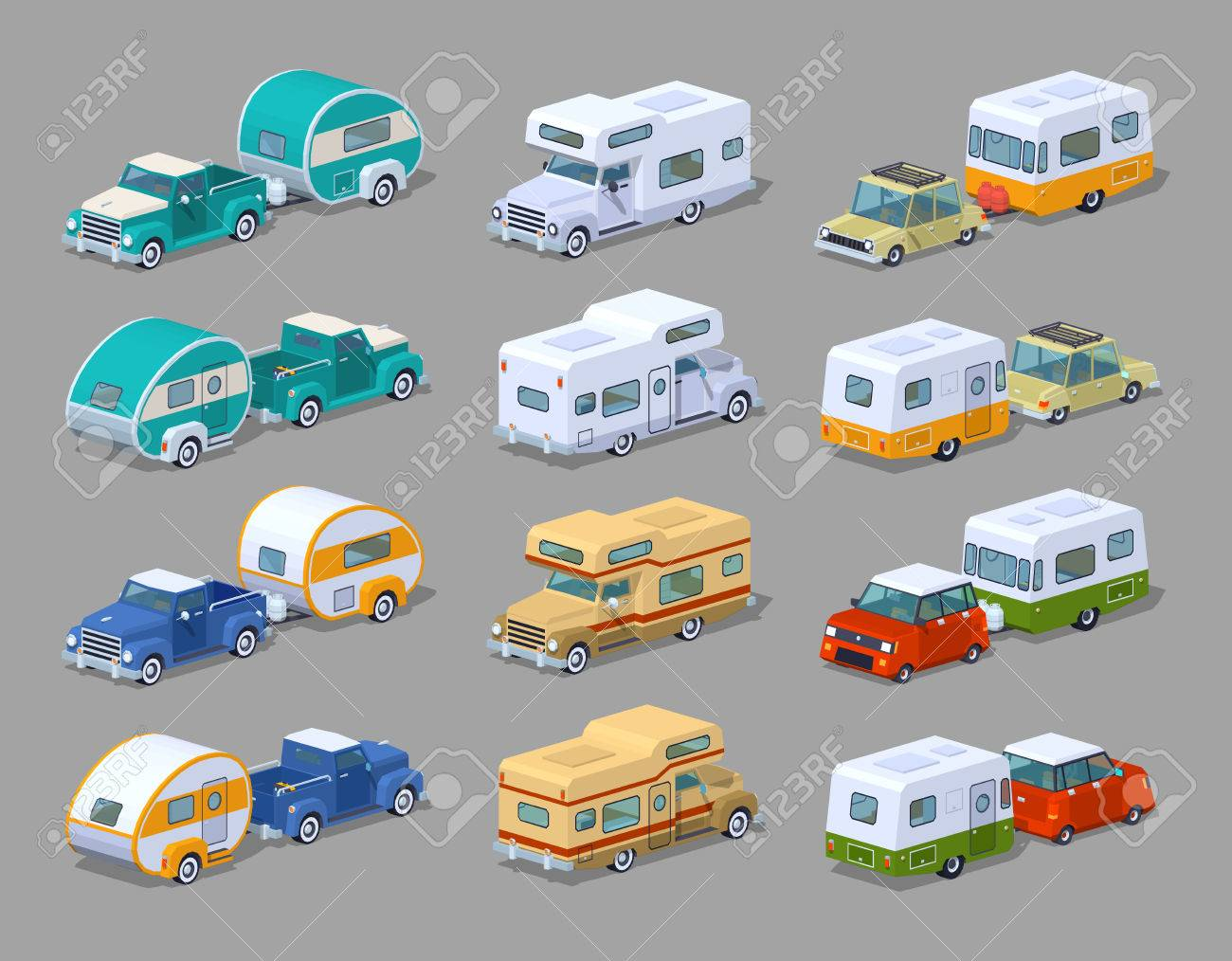 Collection of the motorhomes. 3D lowpoly isometric vector illustration. The set of objects isolated against the grey background and shown from two sides - 55309198