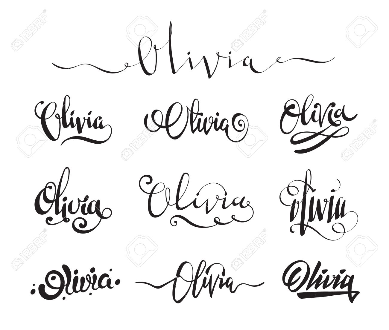 Personal Name Olivia Vector Handwritten Calligraphy Tattoo Design