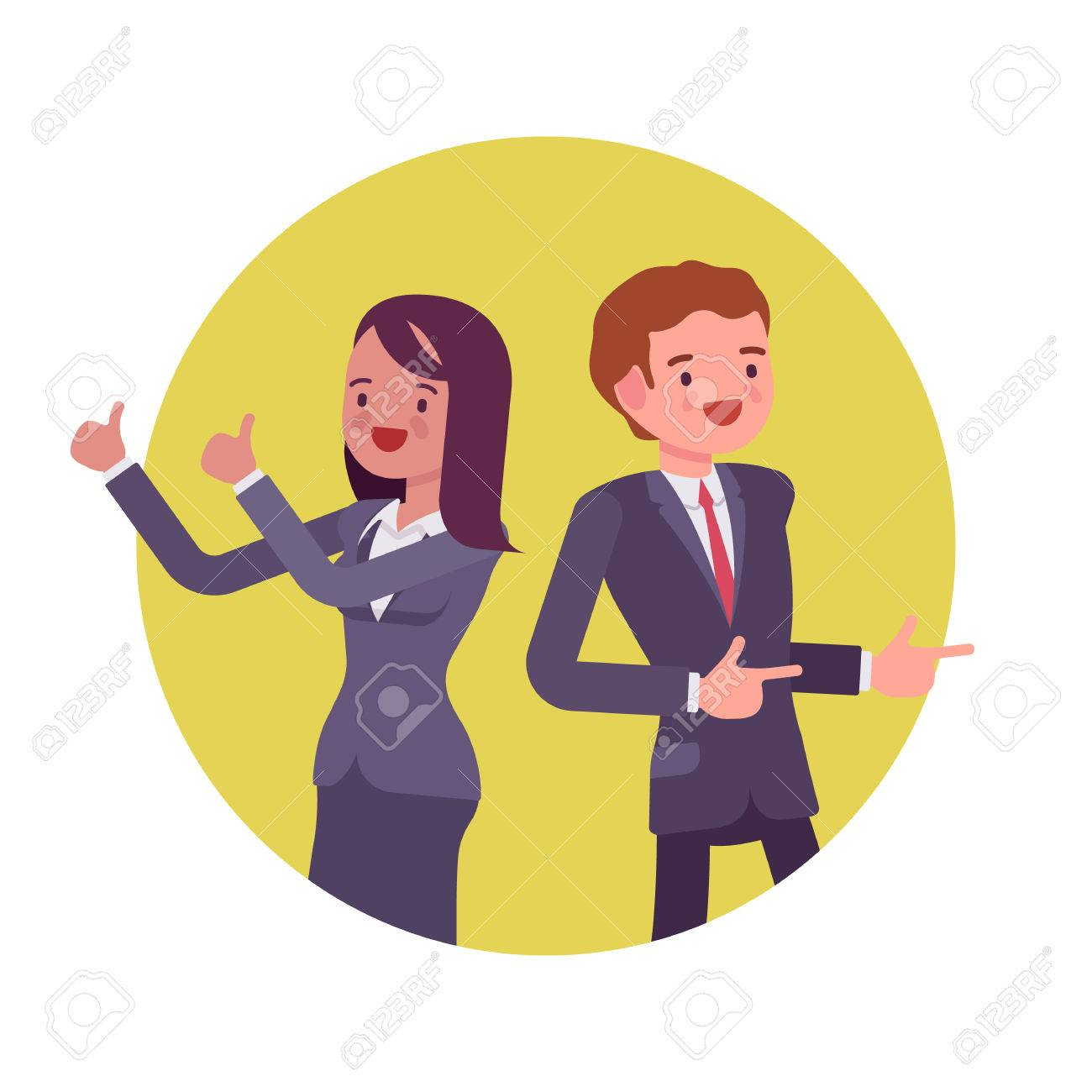 Office workers standing and smiling. Man and women in a formal wear. Cartoon vector flat-style business concept illustration - 61090270