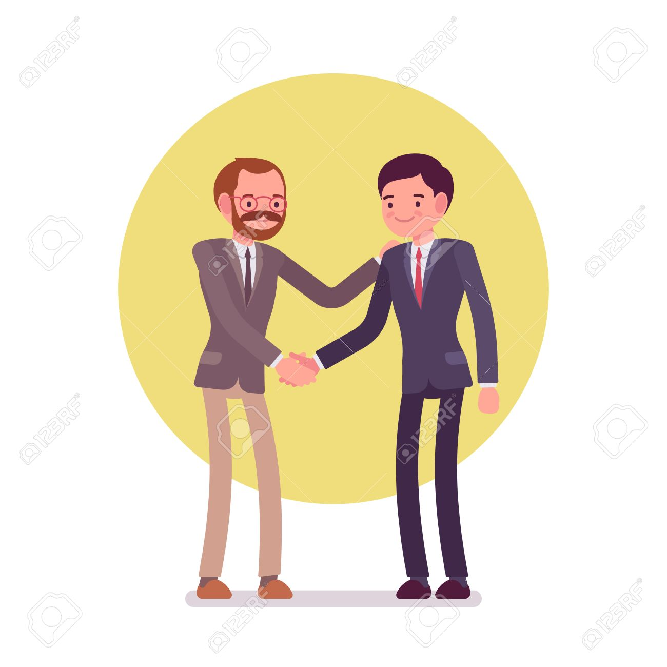 Handshake. Two men in a formal wear. Cartoon vector flat-style business concept illustration - 61090276