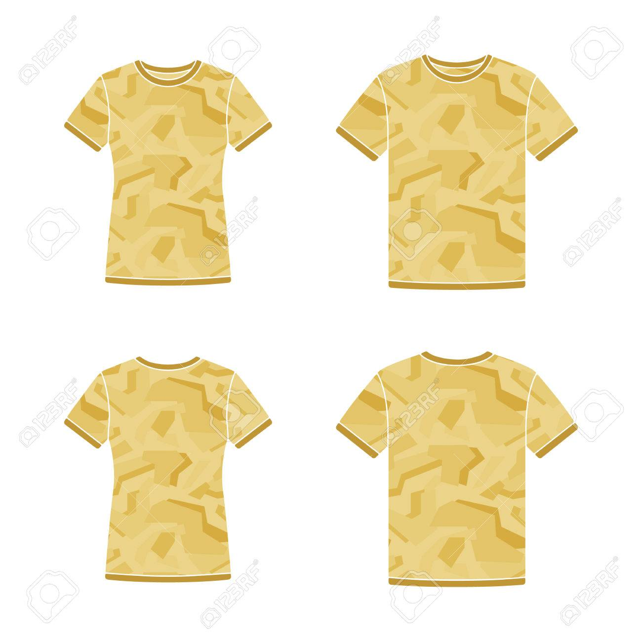 Mens and womens yellow short sleeve t-shirts templates with the camouflage  pattern. Front 18c90f38d4a