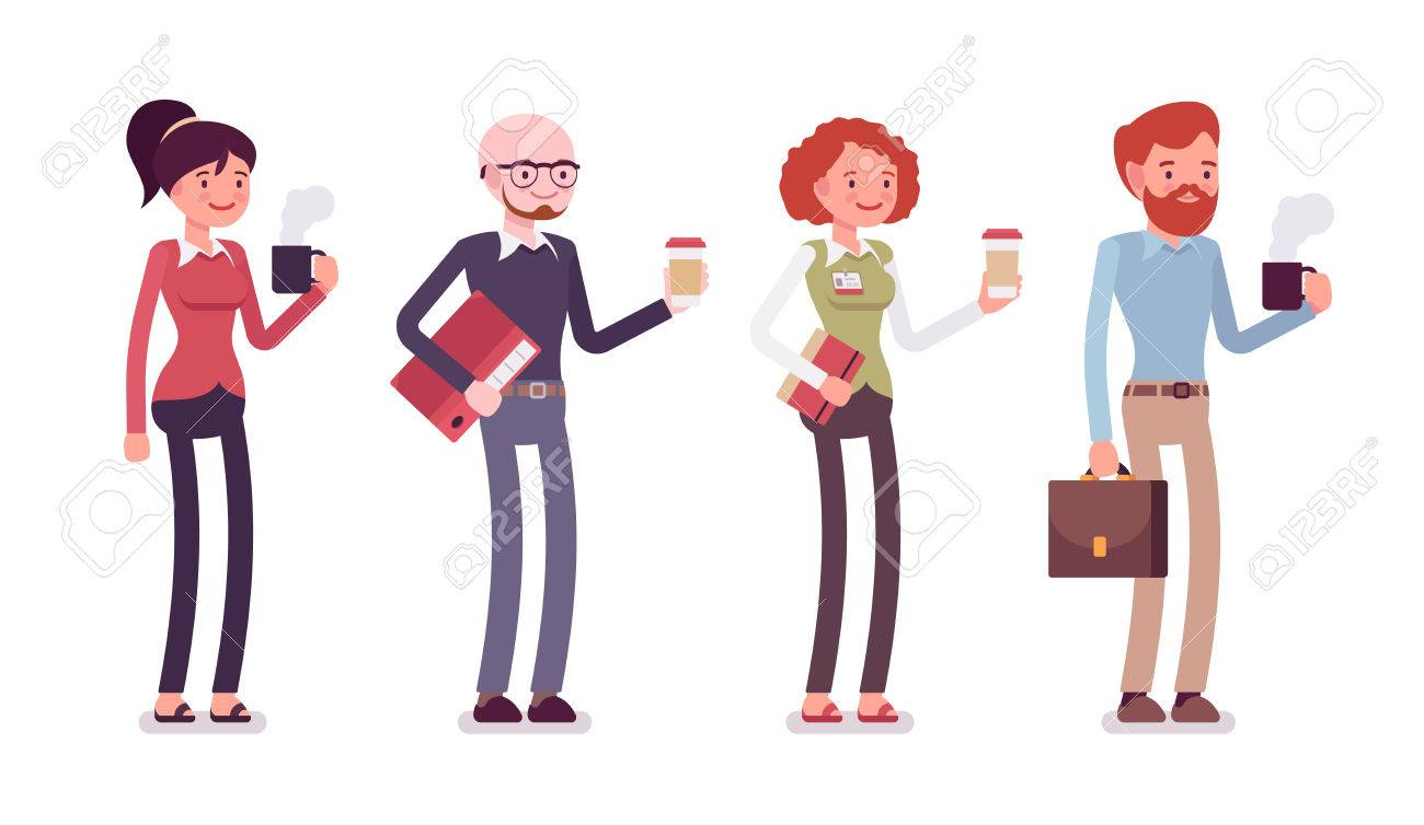 Set of people in a casual wear with coffee, folder, bag, mug. Cartoon vector flat-style illustration - 66669948