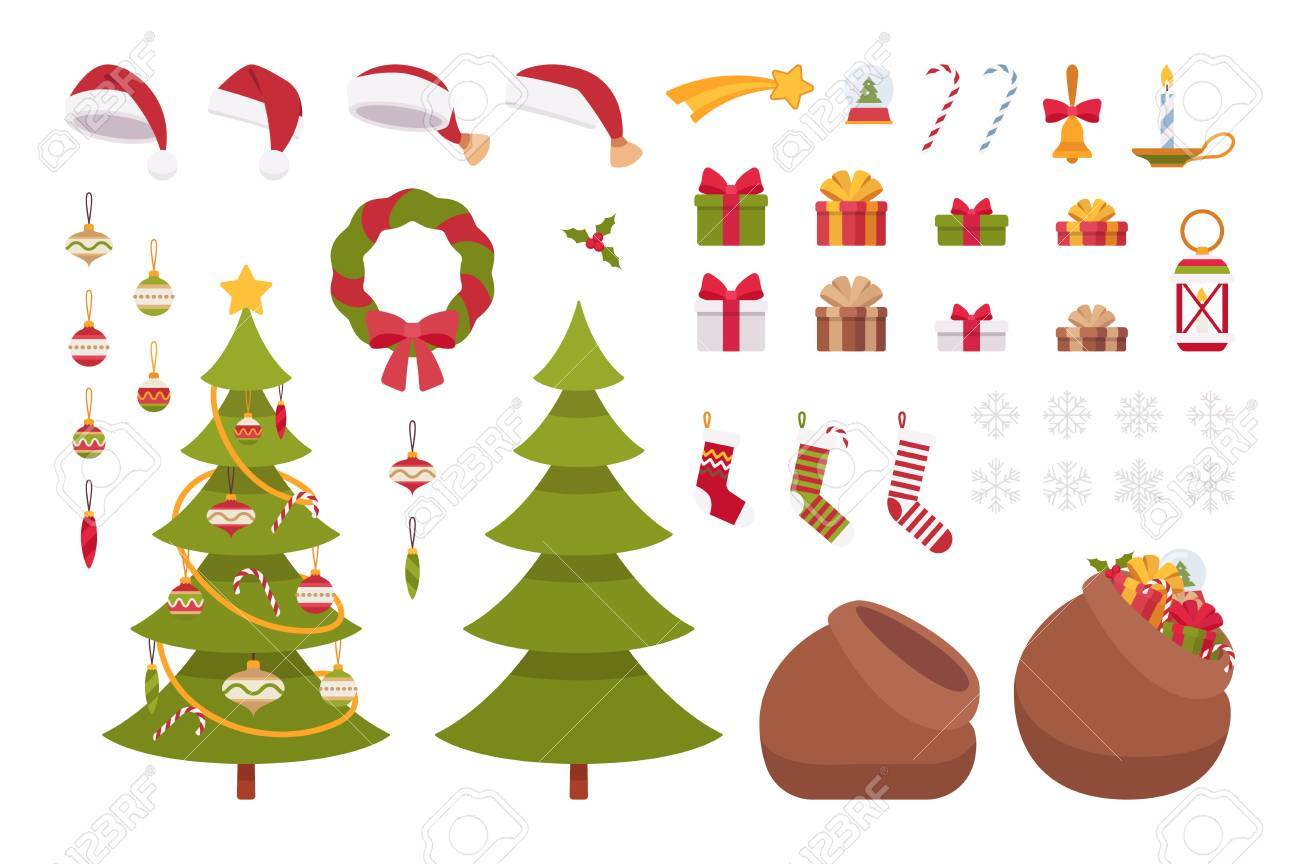 Christmas Items.Set Of Christmas Items Isolated Against White Background Cartoon