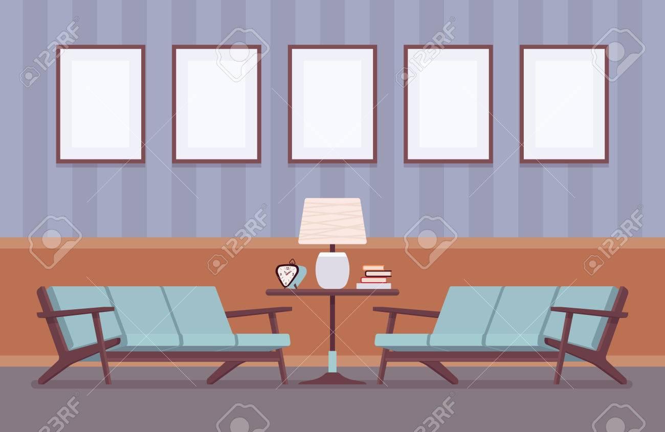 Retro-Interieur, Wandrahmen Für Exemplar Und Mockup, Wohnzimmer ...
