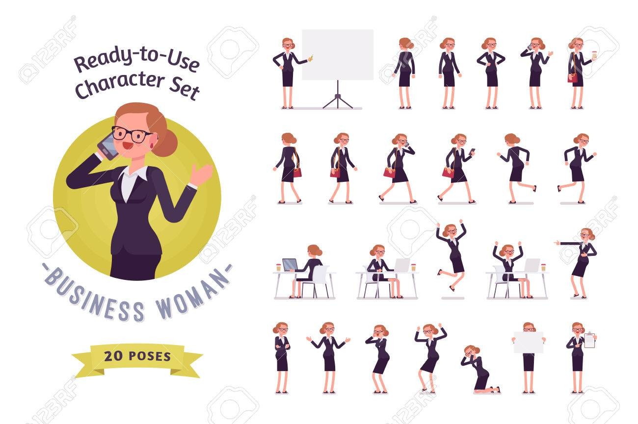 Ready-to-use business woman character set, different poses and emotions - 70741302