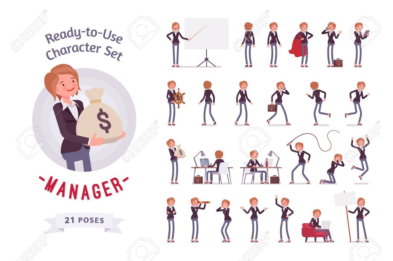 Ready-to-use female manager character set, different poses and emotions - 71599656