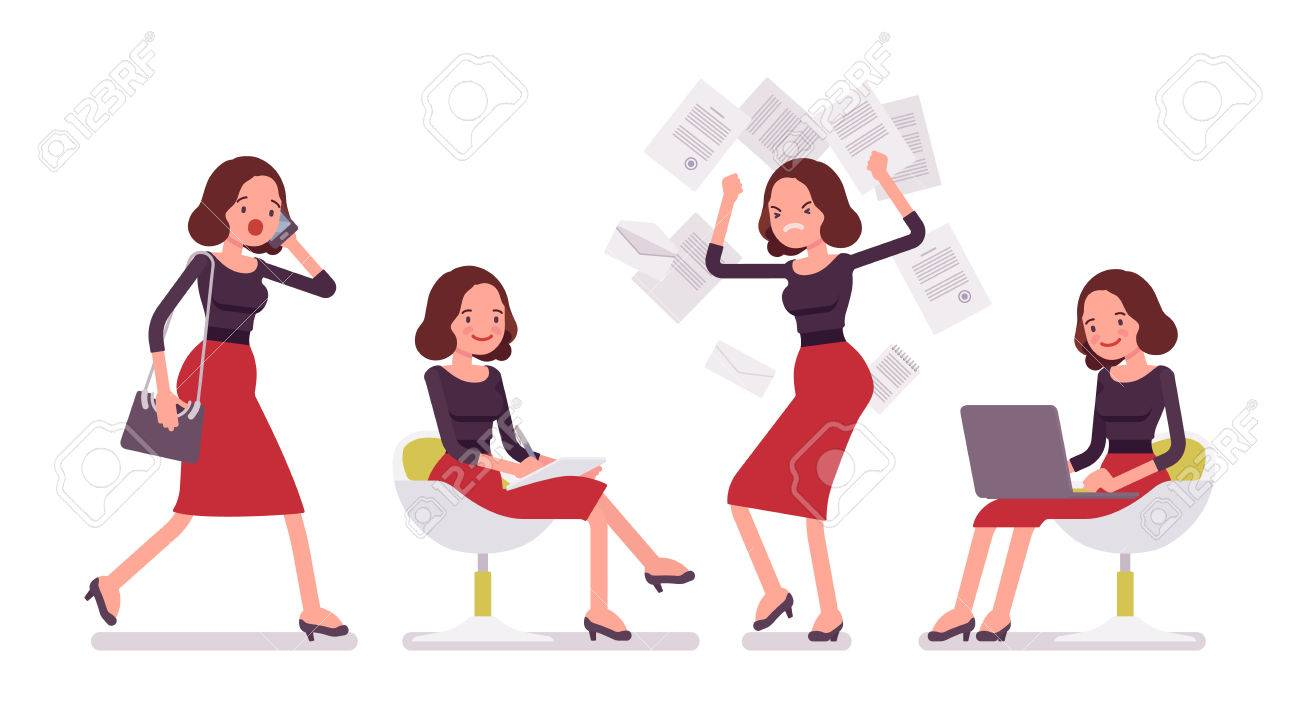 set of young secretary personal assistant carrying administrative
