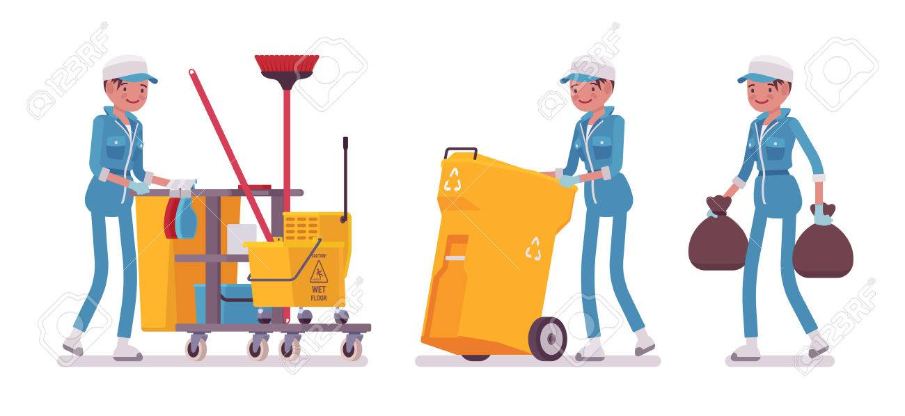 Female janitor cleaning, taking out the trash - 75421163