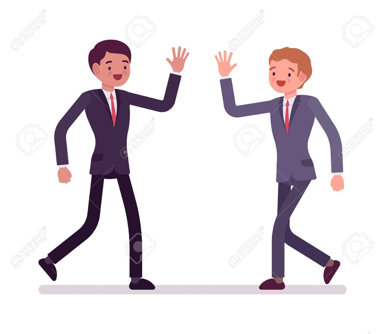Businessmen happy greeting partners in formal wear friendly businessmen happy greeting partners in formal wear friendly meeting each other coworkers effective m4hsunfo
