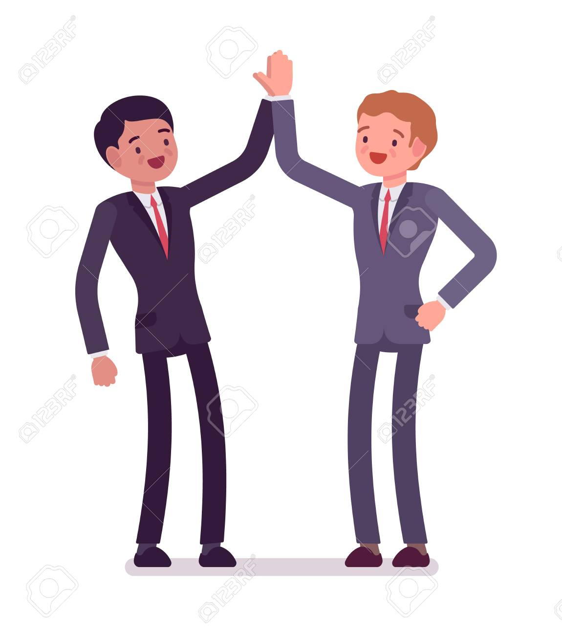 Business partners giving high five men hearty greeting each business partners giving high five men hearty greeting each other celebrate victory mutual m4hsunfo