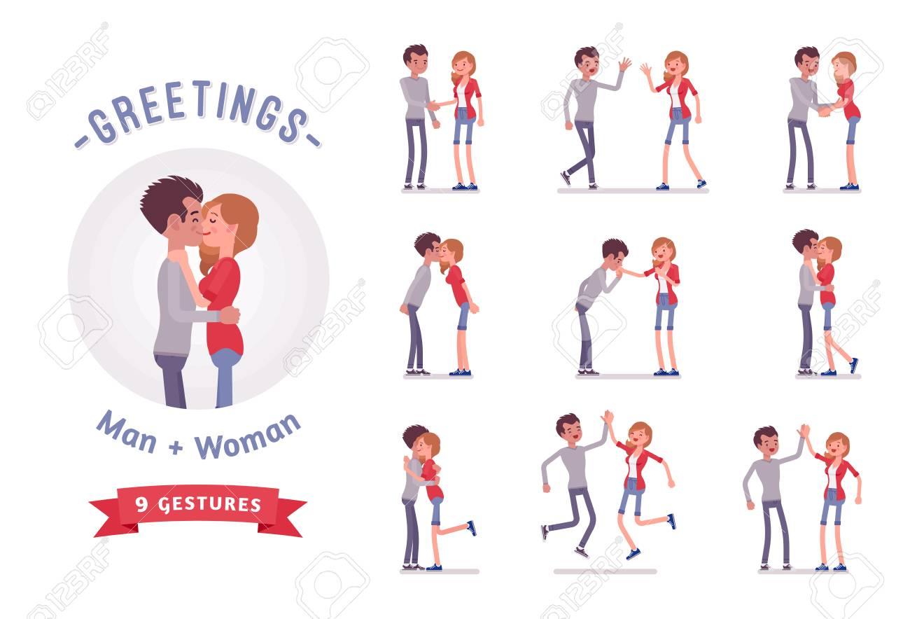 Young man and woman greeting character set, various poses, emotions. - 85573735