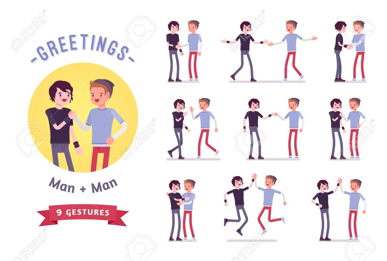 Teens greeting character set, various poses and emotions - 85619870