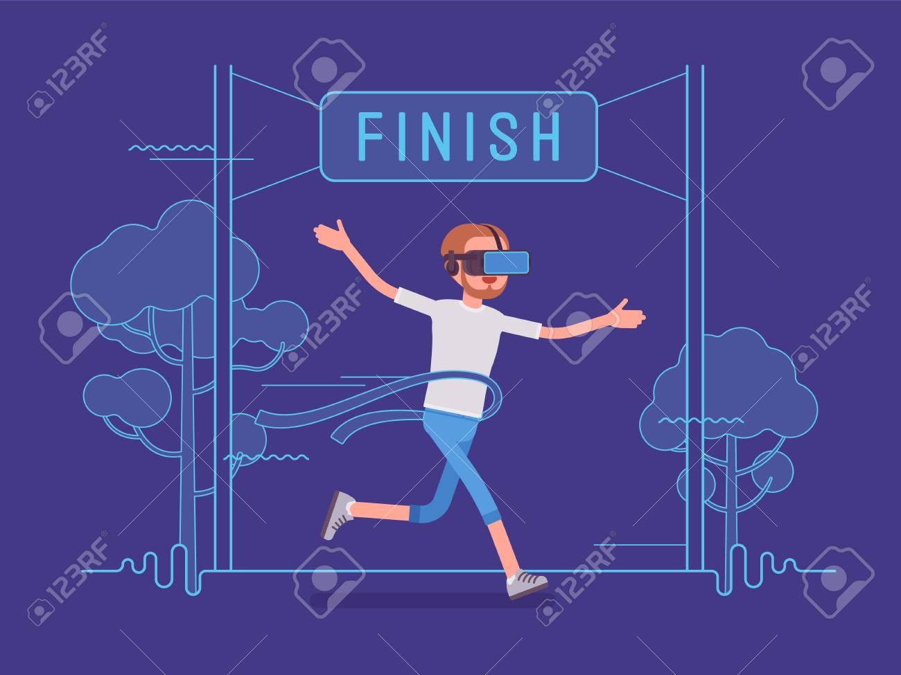 VR 男を実行し、勝利します。スポーツ マラソンの人工環境を作成する ...