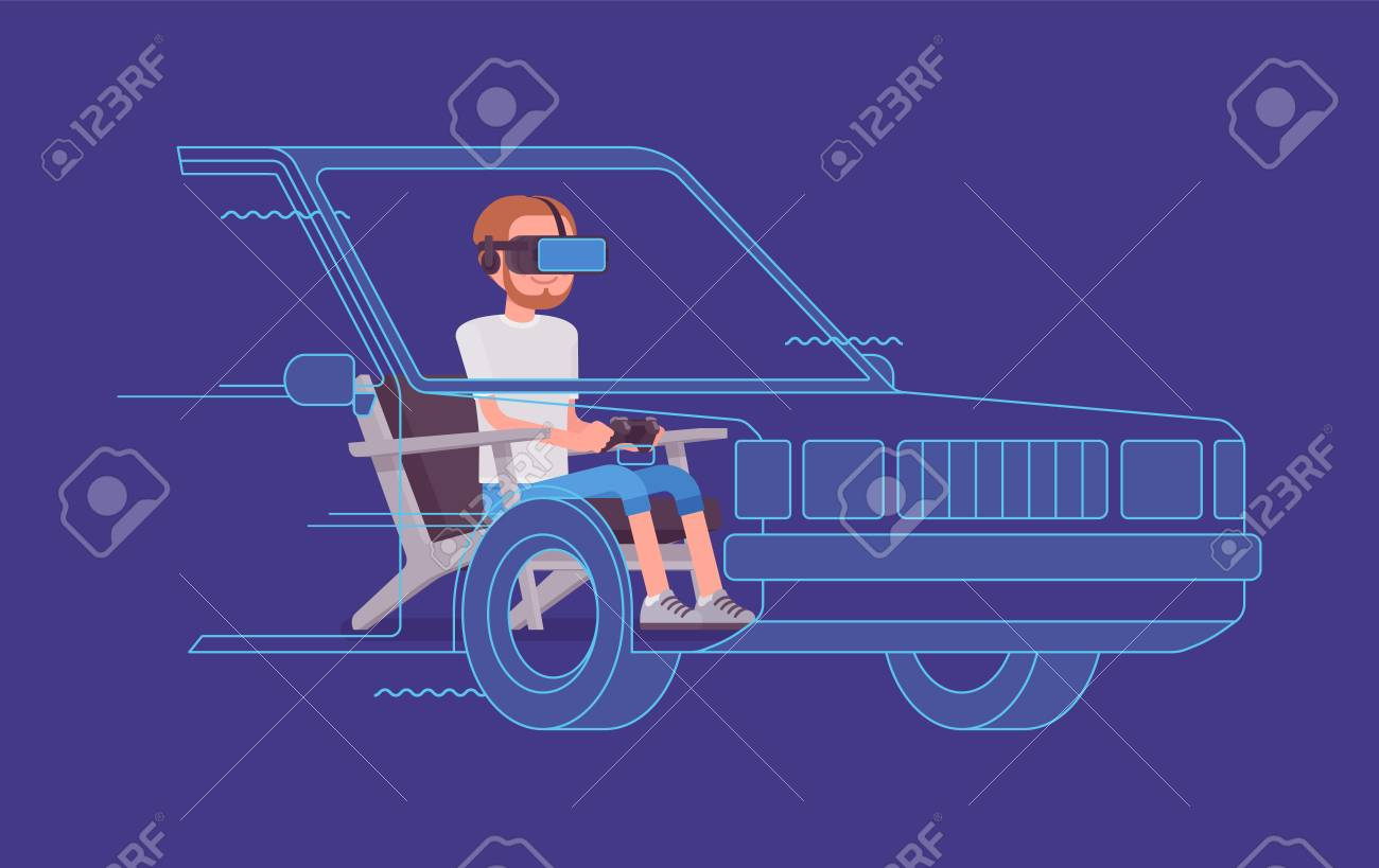 VR man driving test  Using advanced technology to imitate road