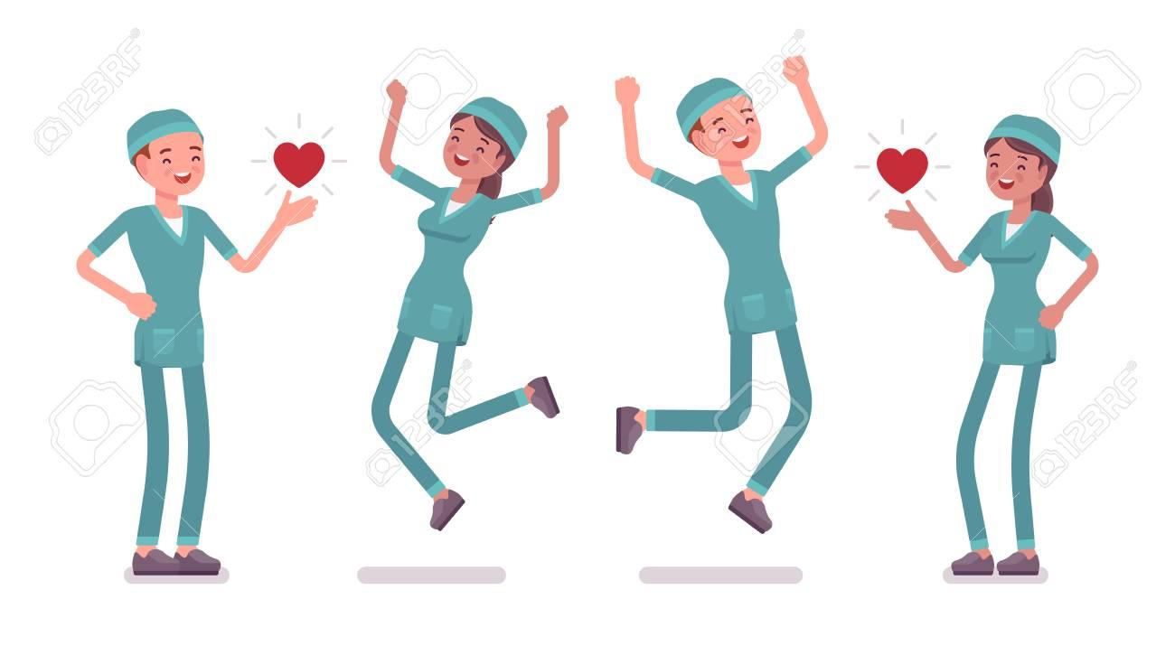 Enfermera Masculina Y Femenina En Emociones Positivas Los Trabajadores Jóvenes En Uniforme De Hospital Feliz En El Trabajo Disfrutar Medicina Y
