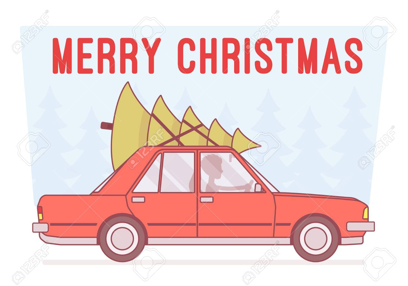 Merry Christmas Tree On Car Top Royalty Free Cliparts Vectors And