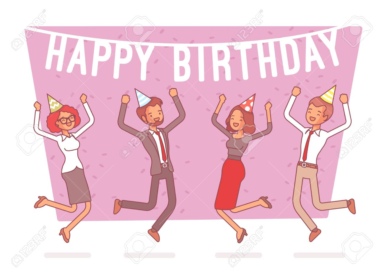 Happy Birthday Party In Office Festive Gathering Of Company Employees At Coworker Birth Anniversary Celebrating Excited At Corporate Event Vector Business Concept Line Art Illustration Royalty Free Cliparts Vectors And Stock Illustration