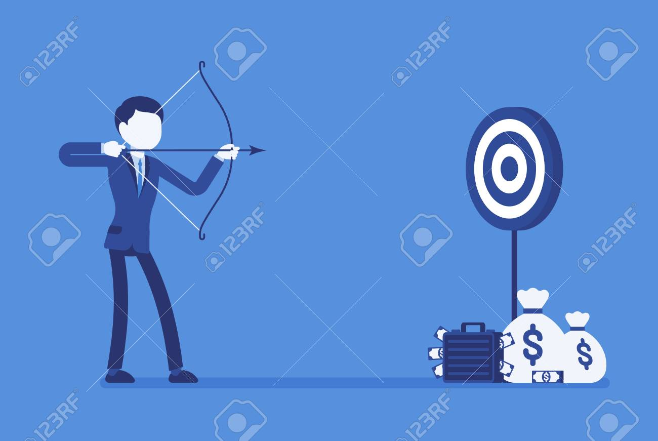 Businessman Arching In Profit Target Young Man With Bow Arrow Shoots To Money Aim