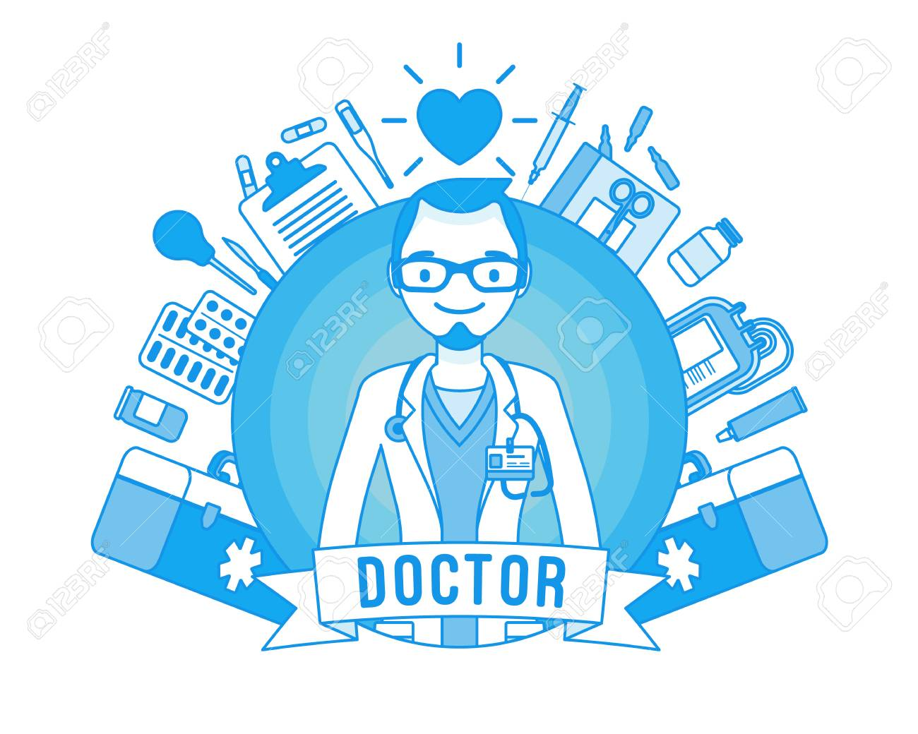 Doctor professional poster  Young qualified clinic physician