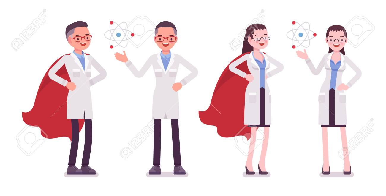 Male and female scientist with symbols - 95387388