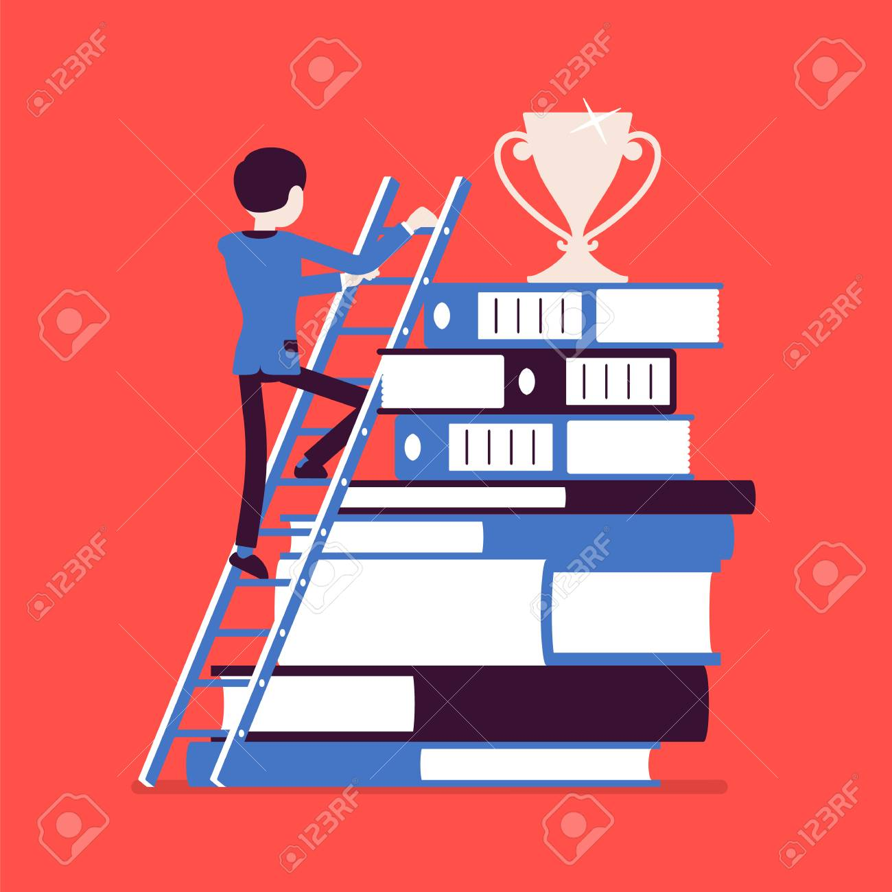Acomplishment ladder to success. businessman in move to reach top, accomplishment..