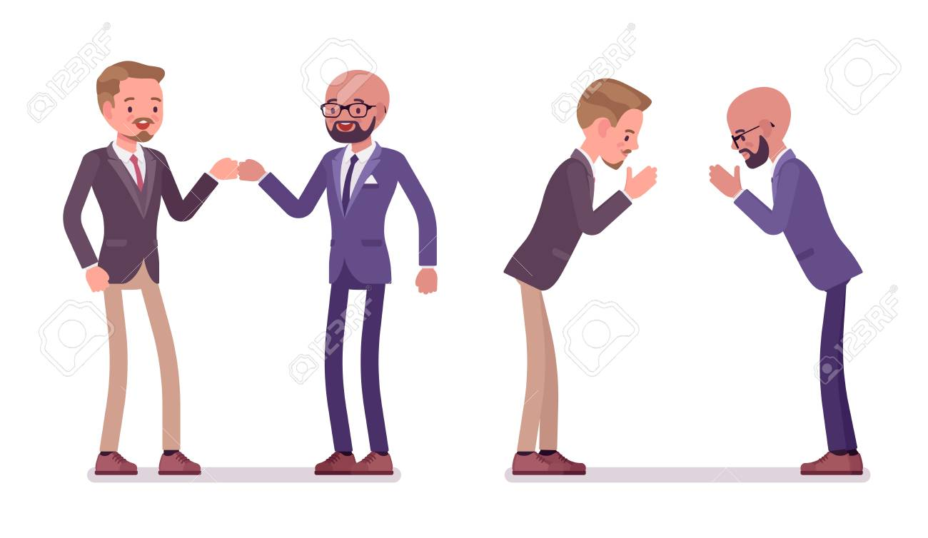 Male partners greeting. Men in fist bump and namaste gesture in meeting ceremonies. Business protocol manners and etiquette concept. Vector flat style cartoon illustration isolated on white background - 111824407