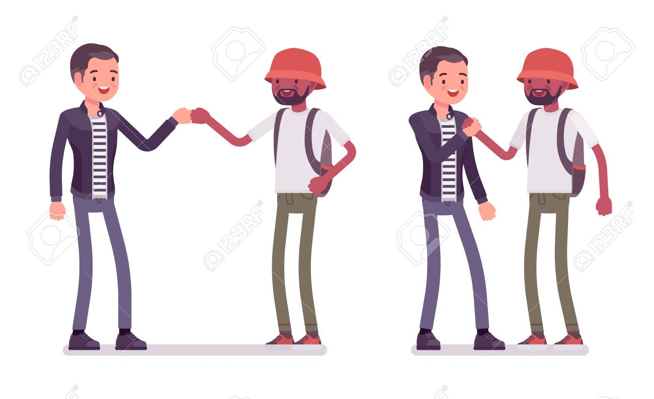 Male friends greeting. Men in fist bump when meeting. Social manners and etiquette concept. Vector flat style cartoon illustration isolated on white background - 110374828