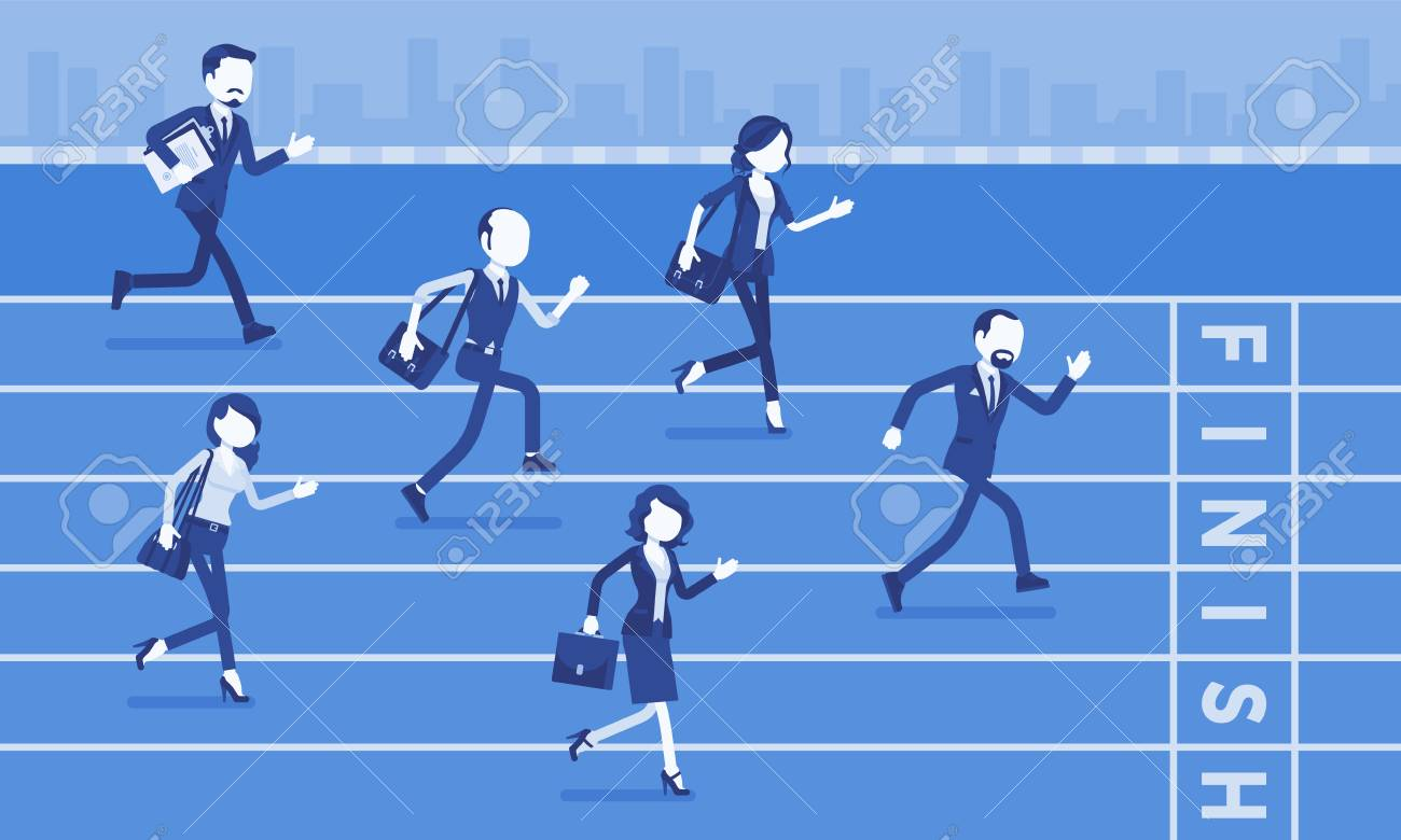 Businessmen running at business competition. Rivalry race between companies or managers, workers in motivational contest, employees establishing superiority. Vector illustration, faceless characters - 122039892